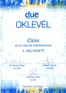 Oklevél - Az év online diákmédiuma 1. helyezett | iDeák